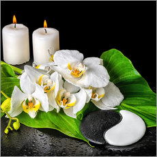Naklejka na ścianę  Spa Concept with Candles and Orchids