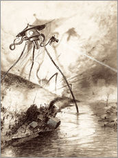 Naklejka na ścianę  Martian Fighting Machine in the Thames Valley - Henrique Alvim Correa