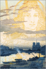Plakat  Seine and Notre Dame with a gods shape - Eugene Grasset