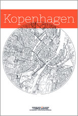 Naklejka na ścianę  Copenhagen map city black and white - campus graphics