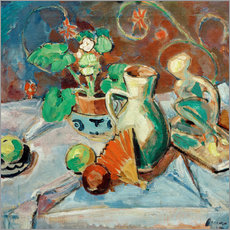 Gallery print  Still life with a white pitcher, plastic, fans and oranges - Oskar Moll