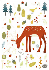 Gallery print  Pretty deer in the autumn forest - Nic Squirrell