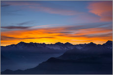Gallery print  Colorful sky at sunset over the Alps - Fabio Lamanna