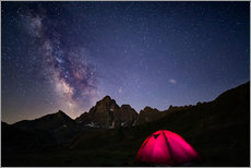 Gallery print  Glowing camping tent under starry sky on the Alps - Fabio Lamanna