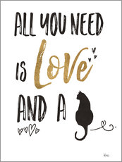 Naklejka na ścianę  All you need is love and a cat - Veronique Charron