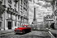 Naklejka na ścianę  Paris in black and white with red car - Art Couture
