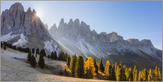 Plakat Odle group at sunrise, South Tyrol, Italy