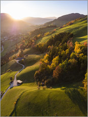Plakat Autumn in the valley, South Tyrol, Italy