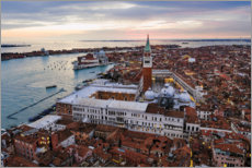 Plakat Aerial view of St Mark's square at sunset, Venice