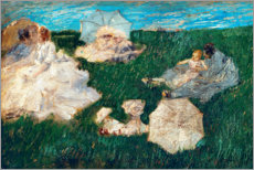Plakat Woman with children in the garden