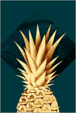 Plakat Pineapple on a green background