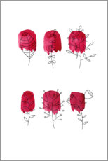 Plakat Floral in red