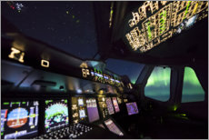 Obraz na szkle akrylowym  Airbus A380 cockpit with polar lights - Ulrich Beinert