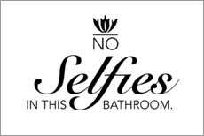 Plakat  No selfies in this bathroom - Typobox