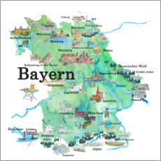 Plakat Bavaria map with sights