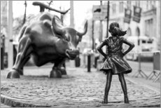 Obraz na drewnie  Fearless Girl and Wall Street Bull - Art Couture