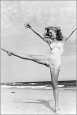 Obraz na drewnie  Marilyn on the beach - Celebrity Collection