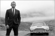 Plakat  Daniel Craig jako James Bond, czarno-biały - Celebrity Collection