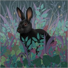 Obraz na drewnie  Black rabbit in the grass - Vasilisa Romanenko