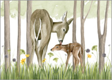 Obraz na aluminium  Children of the forest - Deer and her foal - Grace Popp