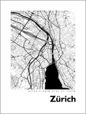 Obraz na drewnie  City map of Zurich - 44spaces