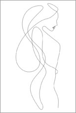 Obraz na aluminium  Lady with long hair - lineart - Sasha Lend