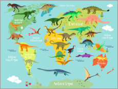 Obraz na aluminium  World map with dinosaurs (French) - Kidz Collection