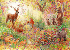 Obraz na drewnie  Enchanted autumn forest with animals - Heather Kilgour