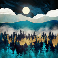 Obraz na drewnie  Evening mist landscape - SpaceFrog Designs