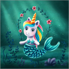 Obraz na płótnie  Little mermaid unicorn - Elena Schweitzer