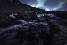 Gallery print  Northern lights at the waterfall, Iceland - Christian Möhrle