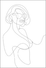 Obraz na płótnie  Woman with sunglasses - lineart - Sasha Lend