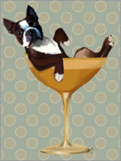 Plakat Boston Terrier in Cocktail Glass