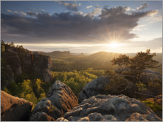 Plakat Sunset in the Elbe Sandstone Mountains