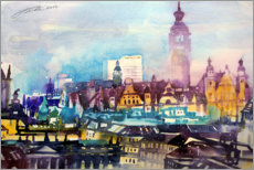 Plakat Leipzig roof landscape with city hall