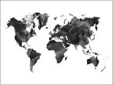 Obraz na drewnie  World Map Black - Nouveau Prints