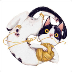 Plakat Cat with ball of wool