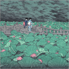 Obraz na płótnie  Pond at Benten Shrine (detail) - Kawase Hasui