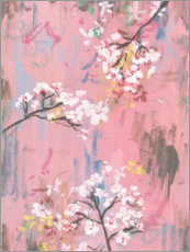 Obraz na drewnie  Cherry blossoms on pink - Melissa Wang