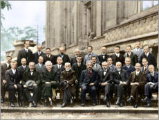 Obraz na drewnie  Fifth Solvay Conference, 1927 (colored)