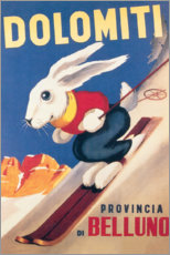 Obraz na drewnie  Rabbit on skis, Dolomiti (Italian) - Travel Collection