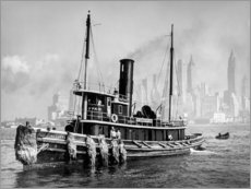 Plakat Tugboat in front of the Manhattan skyline