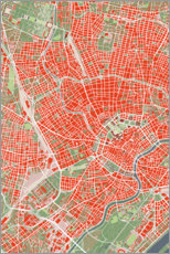 Obraz na płótnie  City map of Vienna, colorful - PlanosUrbanos