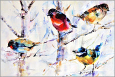 Obraz na szkle akrylowym  Birds on branches - Keti Teichner