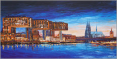 Obraz na drewnie  Cologne view, crane houses and cathedral - Renate Berghaus