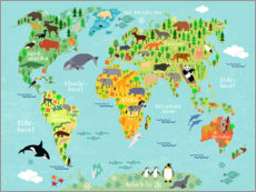 Obraz na drewnie  World Map of Animals (Danish) - Kidz Collection