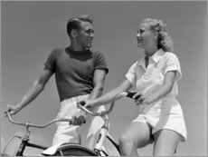 Plakat Couple on bicycles