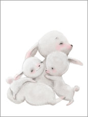 Obraz na drewnie  Cuddly bunnies - Kidz Collection