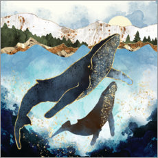 Obraz na szkle akrylowym  Whale family mother and child - SpaceFrog Designs
