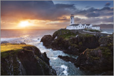 Plakat Sunrise over the sea with lighthouse